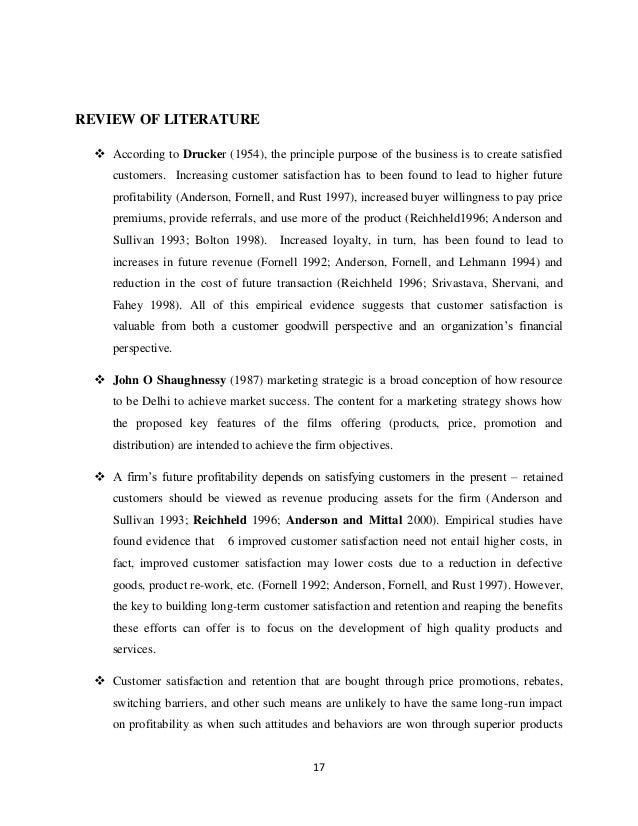 customer satisfaction review of related literature Review of literature this chapter attempts to review different literatures on customer which place the customer satisfaction among a set of related.