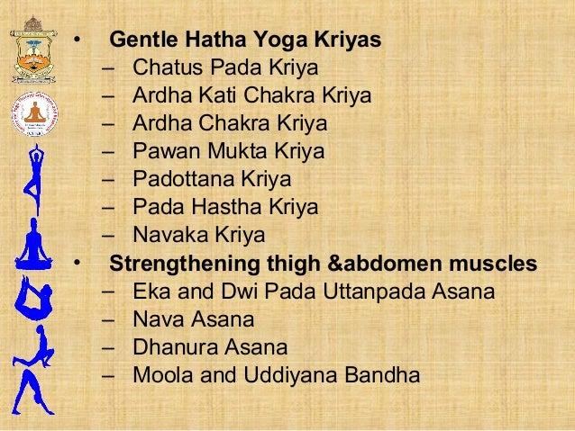 • Gentle Hatha Yoga Kriyas – Chatus Pada Kriya – Ardha Kati Chakra Kriya – Ardha Chakra Kriya – Pawan Mukta Kriya – Padott...