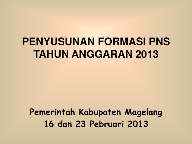 PENYUSUNAN FORMASI PNS  TAHUN ANGGARAN 2013 Pemerintah Kabupaten Magelang    16 dan 23 Pebruari 2013