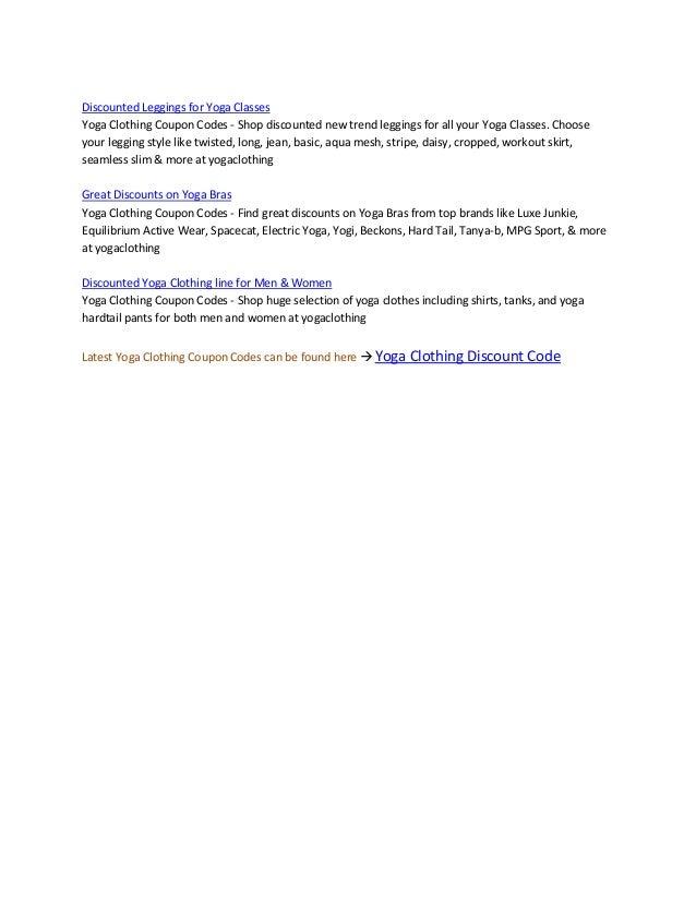 yoga clothing discount code