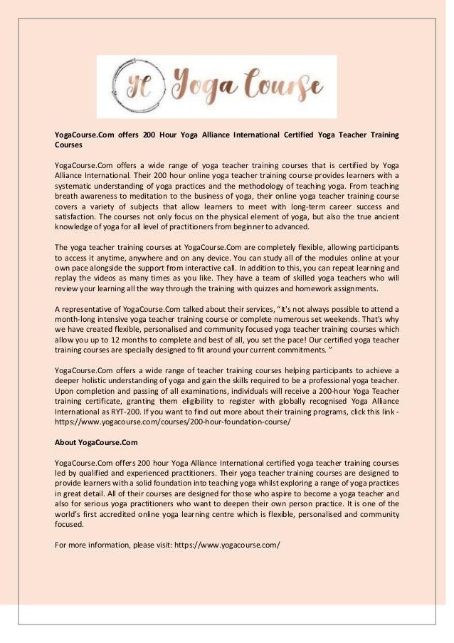 Yogacourse Com Offers 200 Hour Yoga Alliance International Certified
