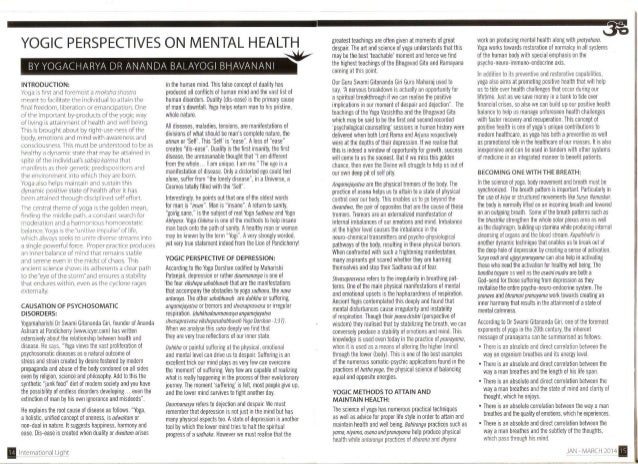 YOGIC PERSPECTIVES ON MENTAL HEALTH