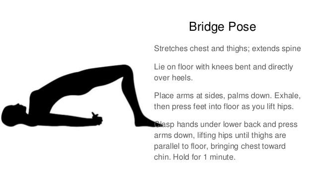 Bridge Pose Stretches chest and thighs; extends spine Lie on floor with knees bent and directly over heels. Place arms at ...