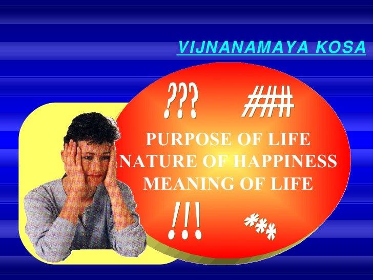 PURPOSE OF LIFE NATURE OF HAPPINESS MEANING OF LIFE !!! ??? VIJNANAMAYA KOSA ### ***