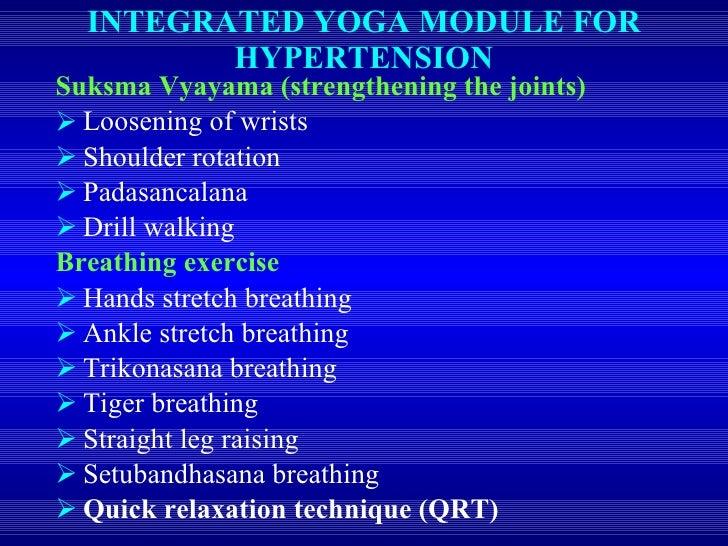 INTEGRATED YOGA MODULE FOR HYPERTENSION <ul><li>Suksma Vyayama (strengthening the joints) </li></ul><ul><li>Loosening of w...