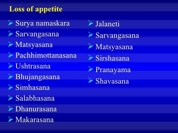 Loss of appetite <ul><li>Surya namaskara </li></ul><ul><li>Sarvangasana </li></ul><ul><li>Matsyasana </li></ul><ul><li>Pac...