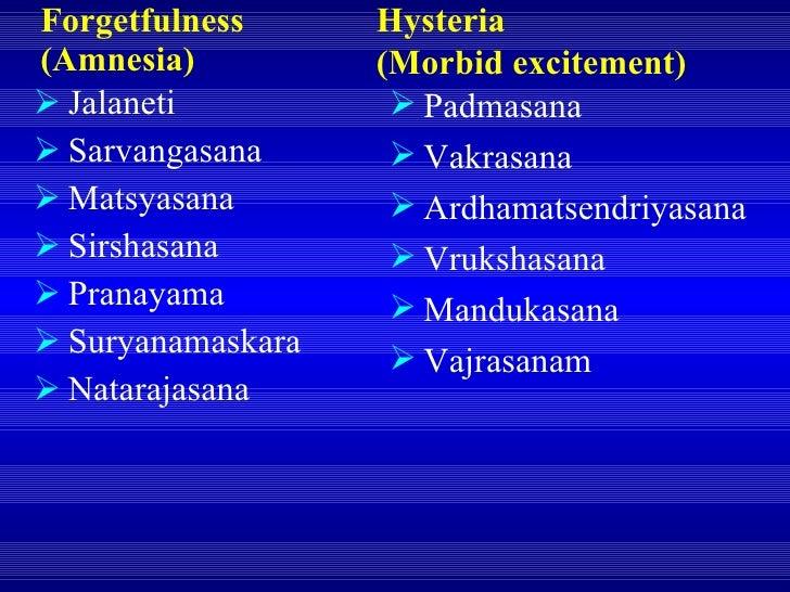 Forgetfulness (Amnesia) <ul><li>Jalaneti </li></ul><ul><li>Sarvangasana </li></ul><ul><li>Matsyasana </li></ul><ul><li>Sir...