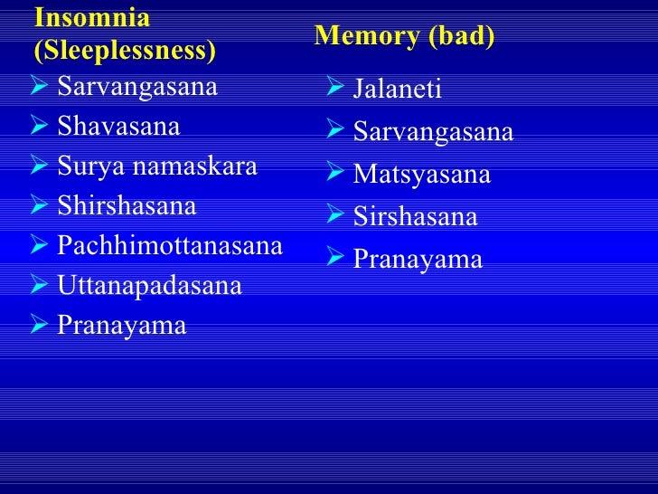 Insomnia (Sleeplessness) <ul><li>Sarvangasana </li></ul><ul><li>Shavasana </li></ul><ul><li>Surya namaskara </li></ul><ul>...