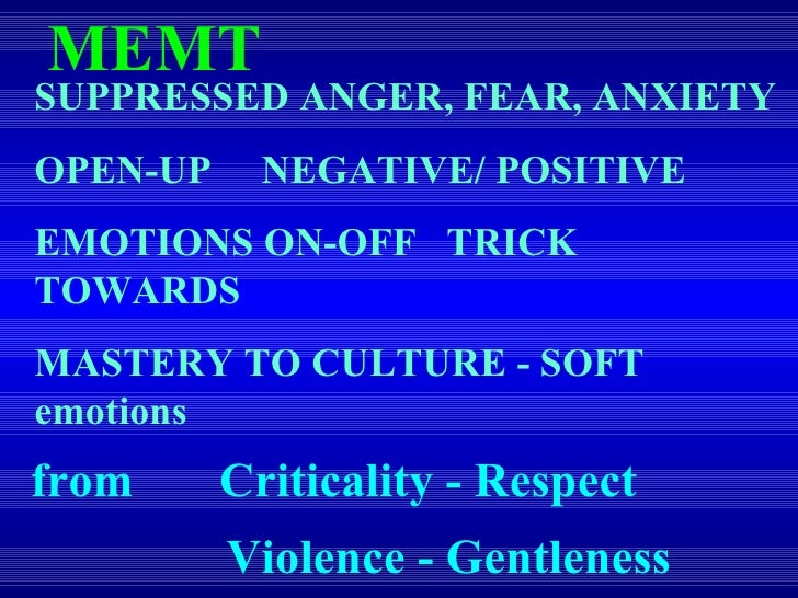 SUPPRESSED ANGER, FEAR, ANXIETY OPEN-UP  NEGATIVE/ POSITIVE  EMOTIONS ON-OFF  TRICK TOWARDS MASTERY TO CULTURE - SOFT emot...