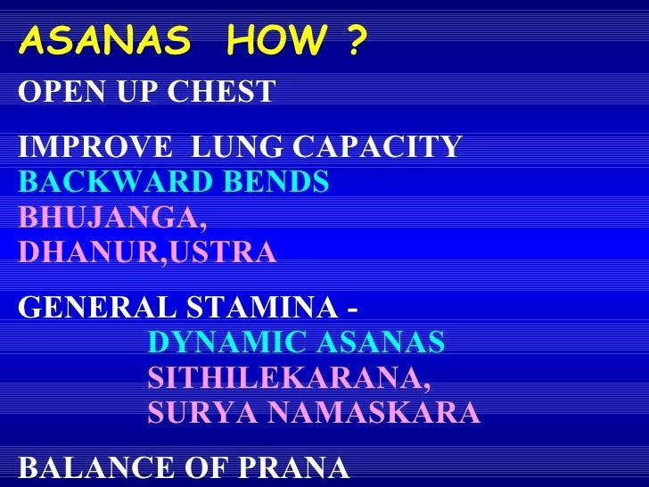 OPEN UP CHEST IMPROVE  LUNG CAPACITY   BACKWARD BENDS BHUJANGA,  DHANUR,USTRA GENERAL STAMINA -  DYNAMIC ASANAS SITHILEKAR...