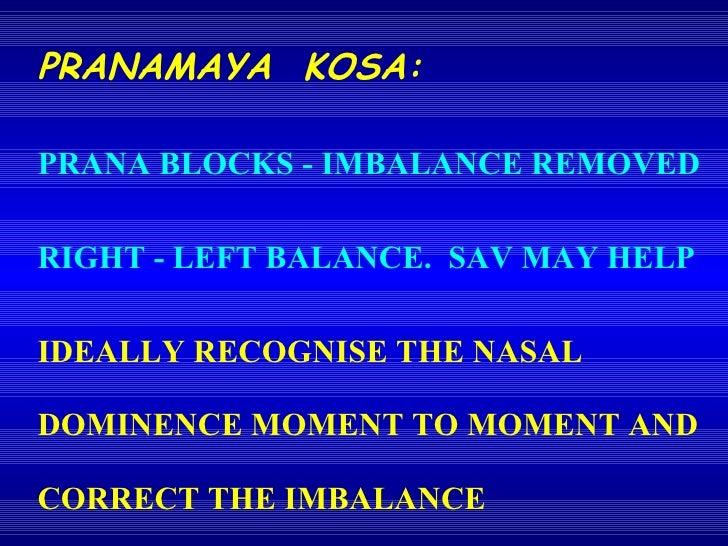PRANAMAYA  KOSA: PRANA BLOCKS - IMBALANCE REMOVED RIGHT - LEFT BALANCE.  SAV MAY HELP IDEALLY RECOGNISE THE NASAL DOMINENC...
