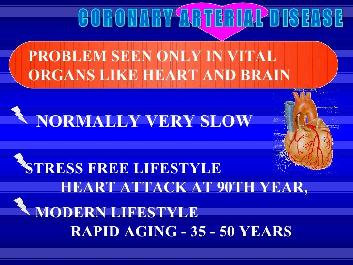 CORONARY ARTERIAL DISEASE NORMALLY VERY SLOW PROBLEM SEEN ONLY IN VITAL ORGANS LIKE HEART AND BRAIN MODERN LIFESTYLE  RAPI...