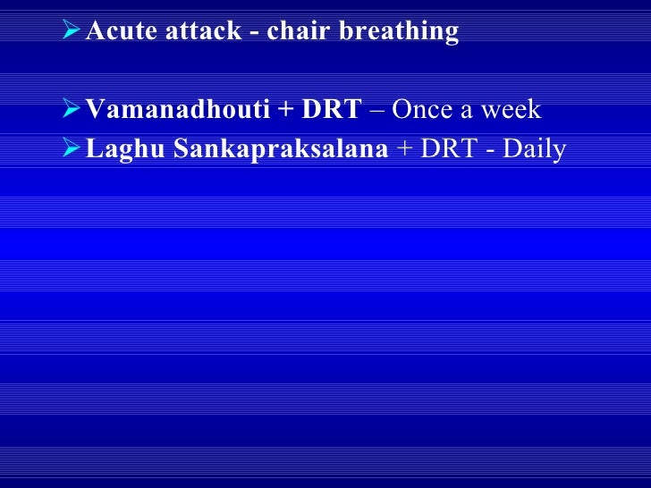 <ul><li>Acute attack - chair breathing </li></ul><ul><li>Vamanadhouti + DRT  – Once a week </li></ul><ul><li>Laghu Sankapr...