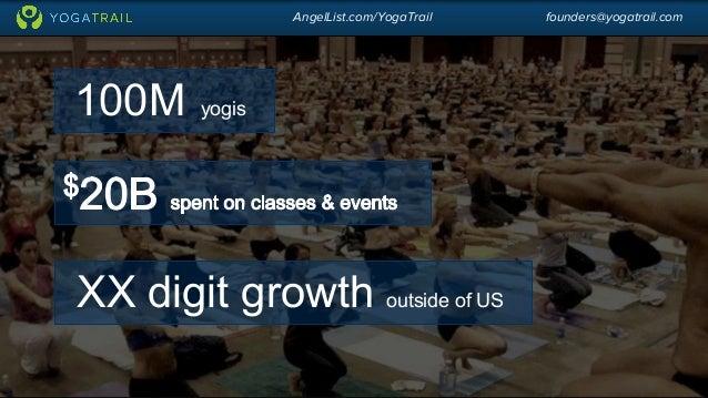 AngelList.com/YogaTrail founders@yogatrail.com  100M yogis  XX digit growth outside of US