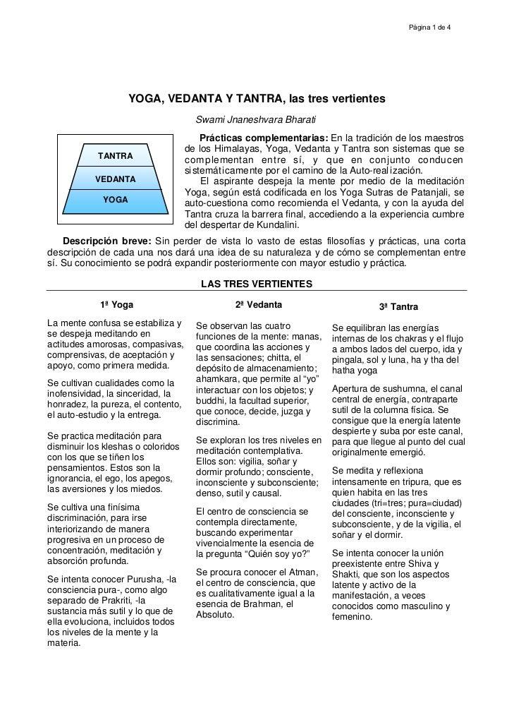 Página 1 de 4                    YOGA, VEDANTA Y TANTRA, las tres vertientes                                      Swami Jn...