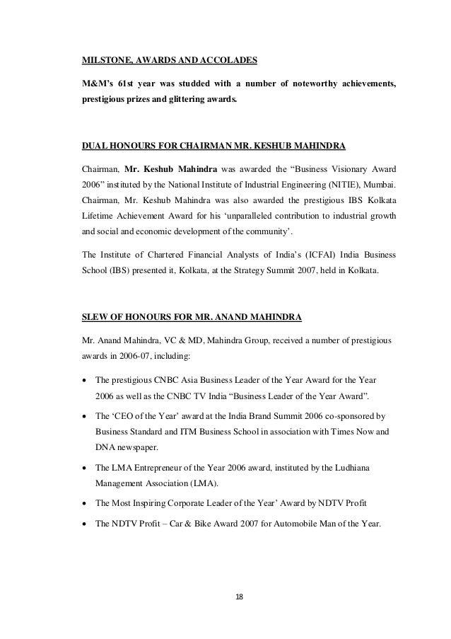 project report on mahindra and mahindra