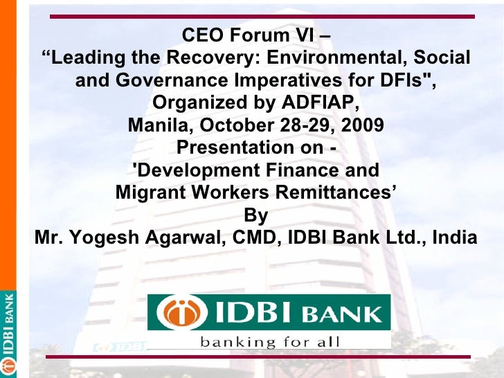 """CEO Forum VI – """"Leading the Recovery: Environmental, Social     and Governance Imperatives for DFIs"""",             Organize..."""