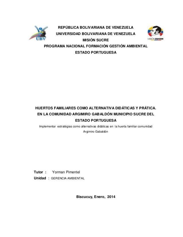 REPÚBLICA BOLIVARIANA DE VENEZUELA UNIVERSIDAD BOLIVARIANA DE VENEZUELA MISIÓN SUCRE PROGRAMA NACIONAL FORMACIÓN GESTIÓN A...