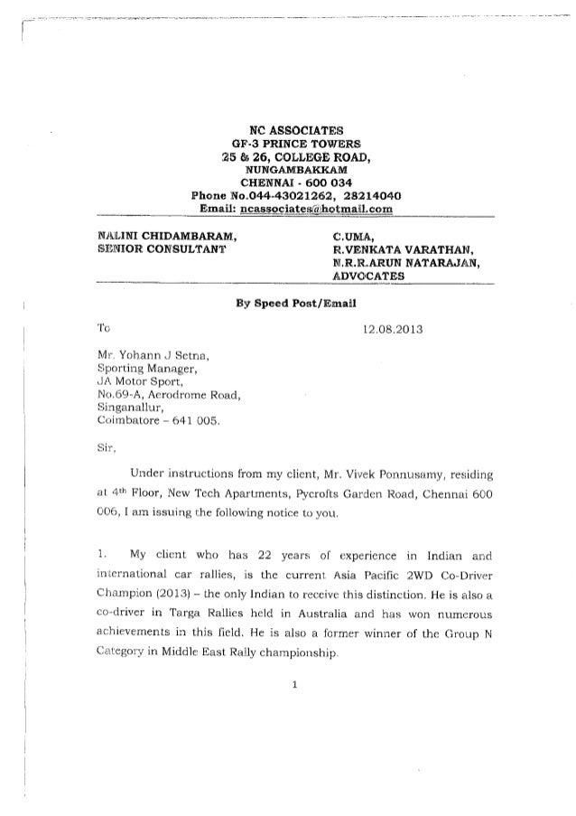 Yohann setna court notice