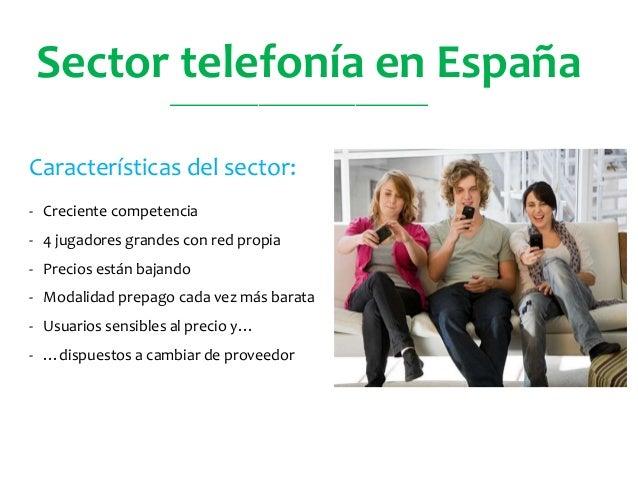 Sector telefonía en España Características del sector: - Creciente competencia - 4 jugadores grandes con red propia - Prec...
