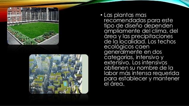 • Entre estos están: • Árboles y arbustos: son parte de los techos intensivos, y requieren un sustrato adicional que las p...