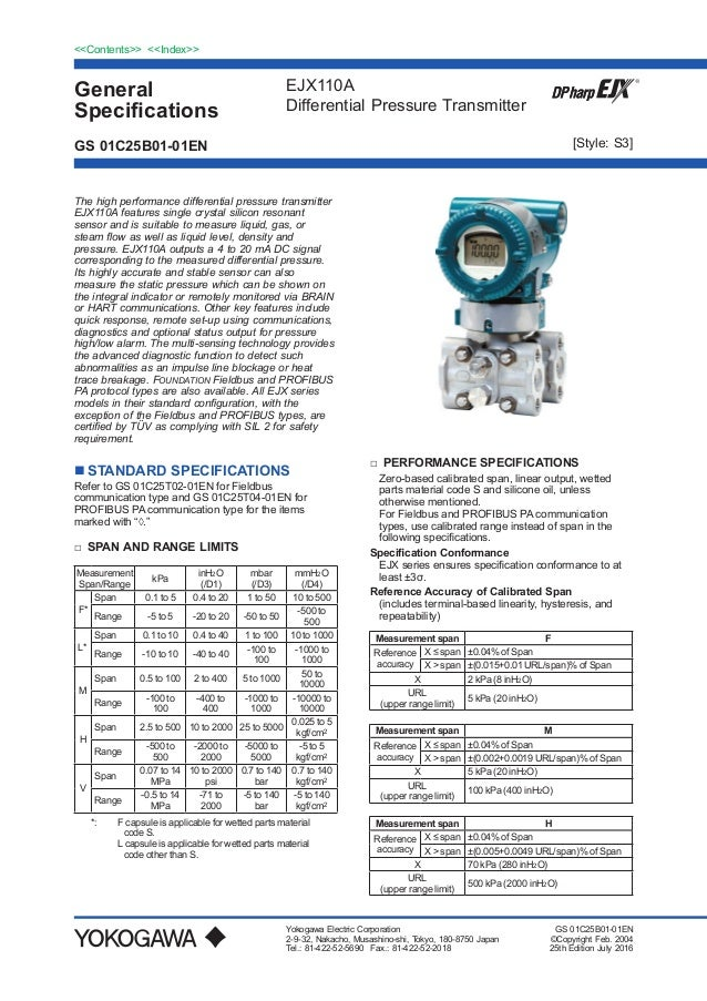 General Specifications <<Contents>> <<Index>> EJX110A Differential Pressure Transmitter Yokogawa Electric Corporation 2-9-...
