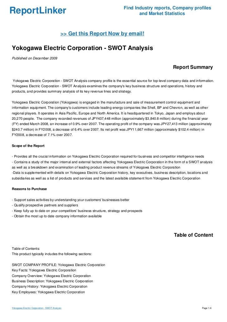 Yokogawa Electric Corporation - SWOT Analysis