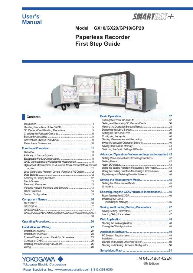 yokogawa model gx10 gx20 gp10 gp20 paperless recorder first step guide rh slideshare net User Guide Template New Balance Manuals
