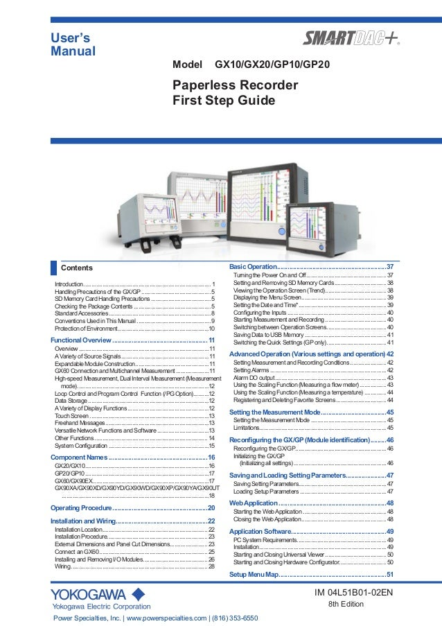 User's Manual IM 04L51B01-02EN 8th Edition Model GX10/GX20/GP10/GP20 Paperless Recorder First Step Guide Contents Introduc...