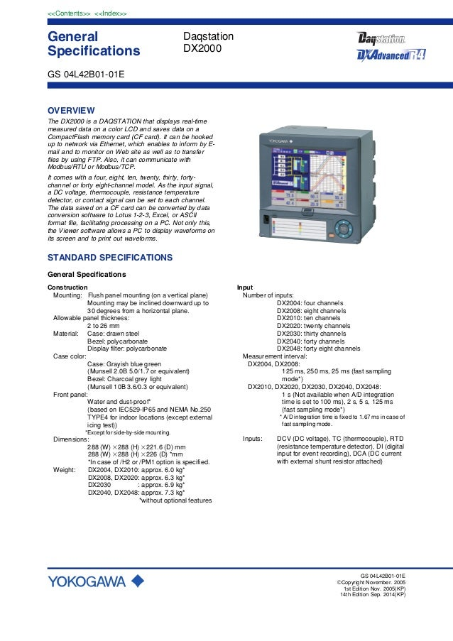 General Specifications <<Contents>> <<Index>> GS 04L42B01-01E GS 04L42B01-01E ©Copyright November. 2005 1st Edition Nov. 2...