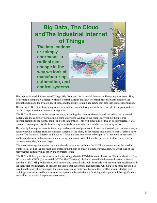 The implications of the Internet of Things, Big Data, and the Industrial Internet of Things are enormous. They  will creat...