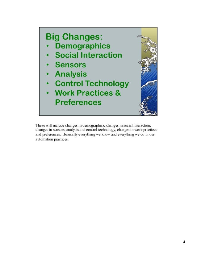 These will include changes in demographics, changes in social interaction,  changes in sensors, analysis and control techn...