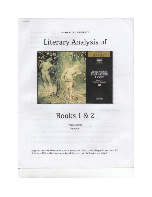 yolanda martin gsu literary analysis of john milton s paradise lost   state university literary analysis of l 7