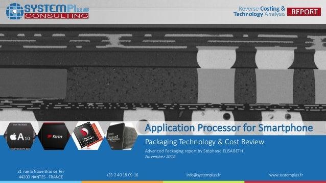 ©2016 System Plus Consulting   2016 Comparison of Application Processor (AP) packaging 1 21 rue la Noue Bras de Fer 44200 ...