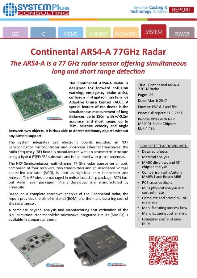 Continental ARS4-A 77GHz Radar 2017 teardown reverse costing