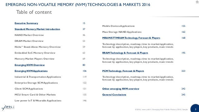 Yole Emerging Non-Volatile Memory - 2016 Report by Yole Developpement