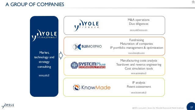 27 A GROUP OF COMPANIES Market, technology and strategy consulting www.yole.fr MA operations Due diligences www.yolefinanc...