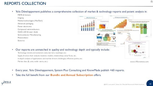 32 REPORTS COLLECTION • Yole Développement publishes a comprehensive collection of market  technology reports and patent a...