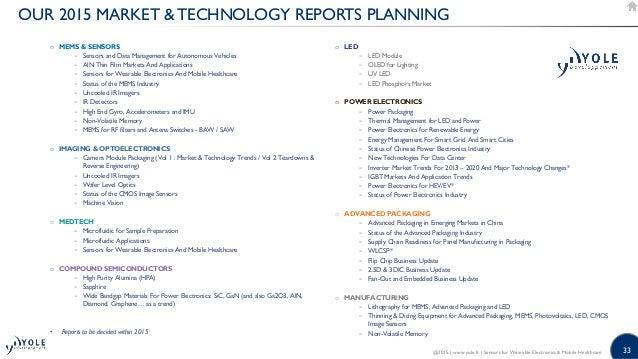 33 OUR 2015 MARKET  TECHNOLOGY REPORTS PLANNING o MEMS  SENSORS − Sensors and Data Management for Autonomous Vehicles − Al...