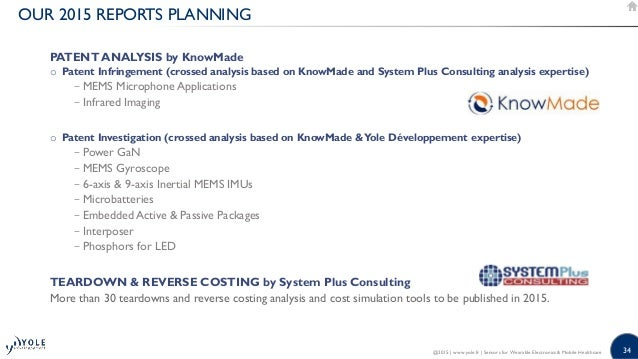 34 OUR 2015 REPORTS PLANNING PATENT ANALYSIS by KnowMade o Patent Infringement (crossed analysis based on KnowMade and Sys...