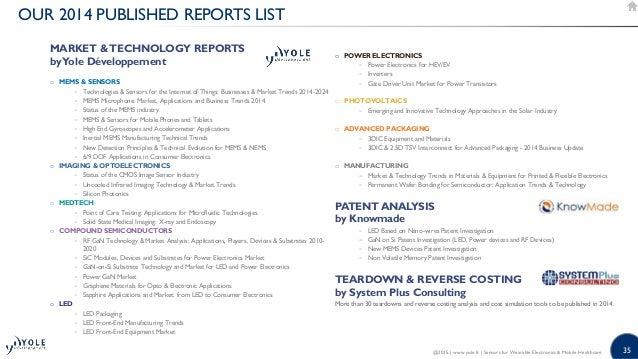 35 OUR 2014 PUBLISHED REPORTS LIST MARKET TECHNOLOGY REPORTS byYole Développement o MEMS  SENSORS − Technologies  Sensors ...