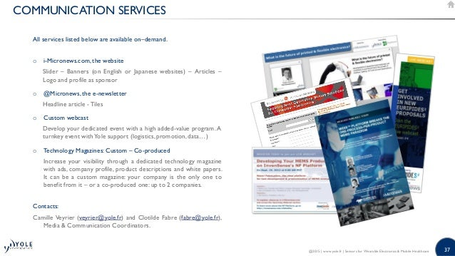 37 COMMUNICATION SERVICES All services listed below are available on–demand. o i-Micronews.com, the website Slider – Banne...