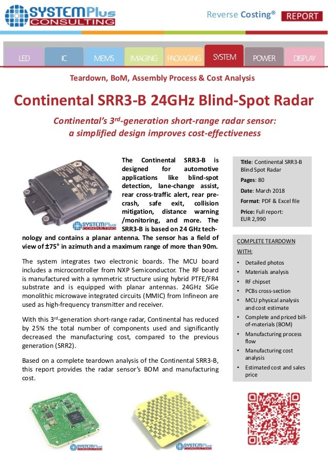 Continental SRR3-B 24GHz Blind-Spot Radar - 2018 teardown reverse co…