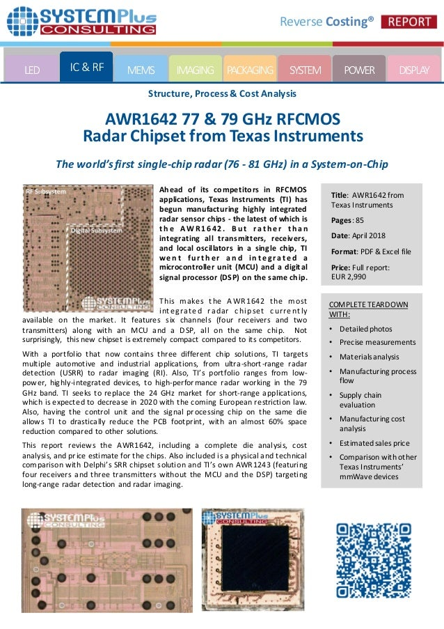 AWR1642 77 & 79 GHz RFCMOS Radar Chipset from Texas Instruments 2018 …