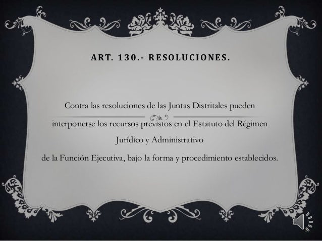 ART. 130. - RES OLUC IONES .Contra las resoluciones de las Juntas Distritales puedeninterponerse los recursos previstos en...