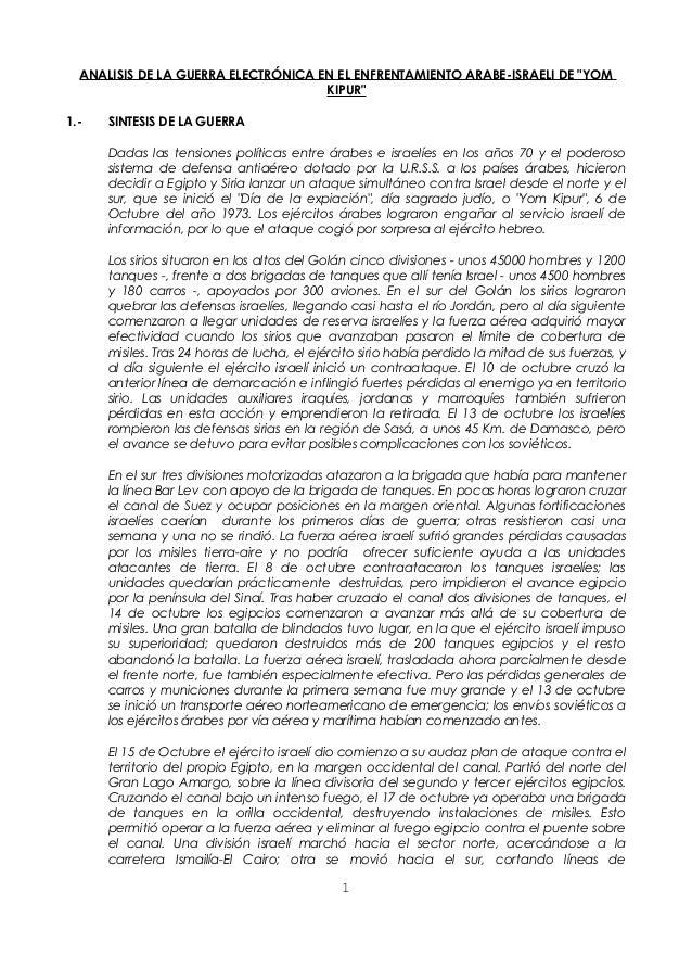 """ANALISIS DE LA GUERRA ELECTRÓNICA EN EL ENFRENTAMIENTO ARABE-ISRAELI DE """"YOM KIPUR"""" 1.-  SINTESIS DE LA GUERRA Dadas las t..."""
