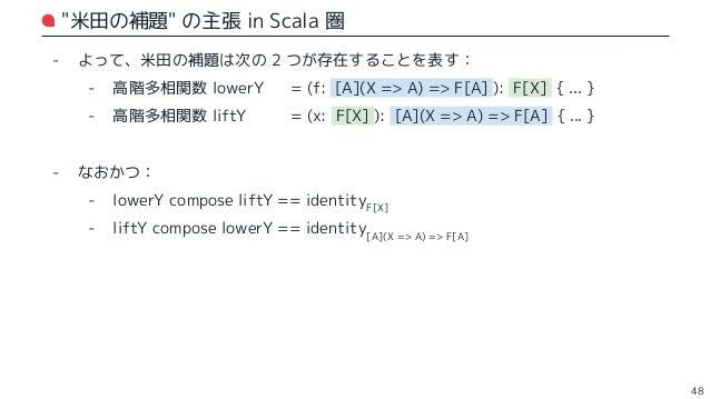 米田の補題 in Scala 圏 49 // Hom 集合の型表現をカインドとして用意 (※ 本当は EndoFunctor のインスタンスも用意するべきだが、割愛) type Hom[X, Y] = X => Y // 函手 F で移された型...