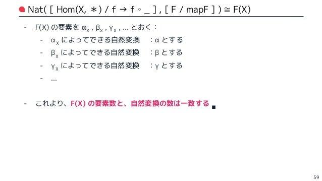 liftY:F(X) の要素を 1 つ受け取り、自然変換を構成する 60 // 函手 F で移された型の値を受け取って、自然変換を返す def liftY[F[_], X](x: F[X])(implicit F: EndoFunctor[F]...