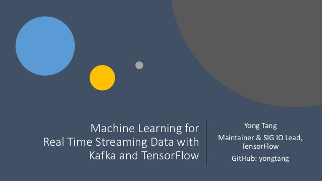 Machine Learning for Real Time Streaming Data with Kafka and TensorFlow Yong Tang Maintainer & SIG IO Lead, TensorFlow Git...