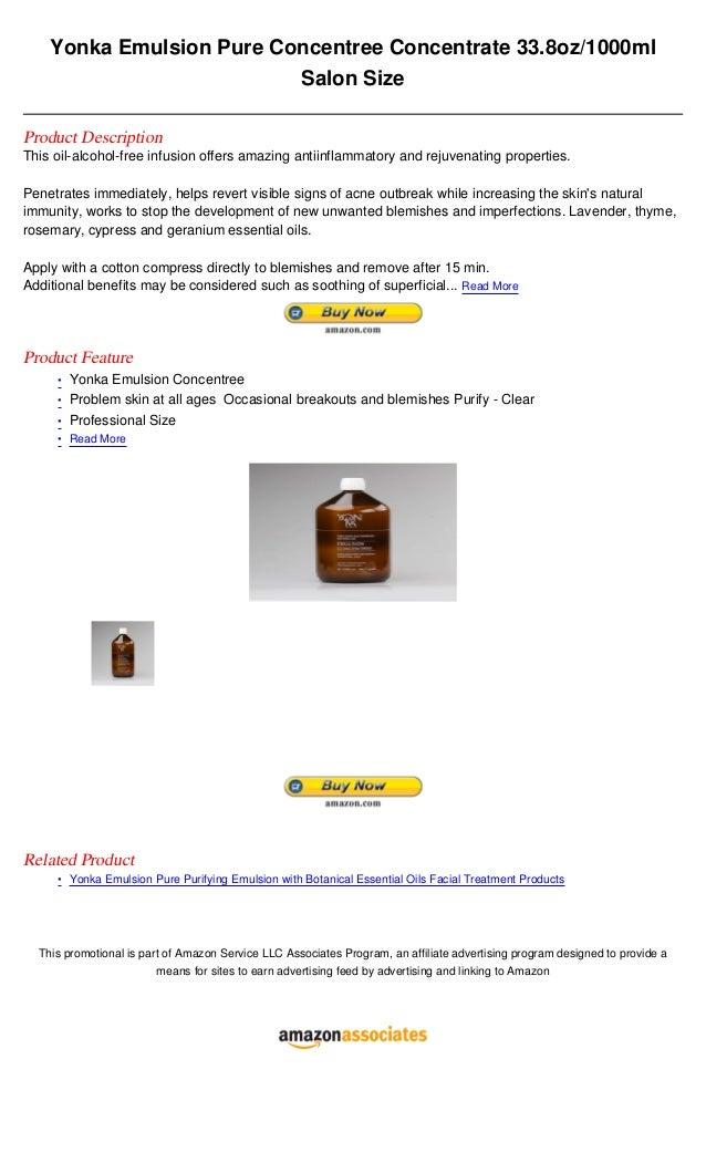 Yonka Emulsion Pure Concentree Concentrate 33.8oz/1000ml                          Salon SizeProduct DescriptionThis oil-al...